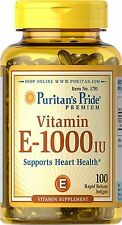 Puritan's Pride Vitamin E-1000 IU-100 Softgels, Exp 3/2021 - Super Fast Shipping