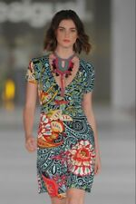 New Desigual Ladies Dress,DETALLES, Size M, V Neck,Multi Colour Printed, Half SL