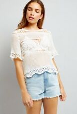 New Look - White Crochet Top - Size M (12-14) - BNWT