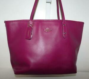 Coach Cranberry Crossgrain Leather City Zip Tote Carryall & Hang Tag #F37785