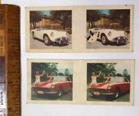1960s 3D PHOTO STEREO VIEWER CARDS CEREAL AUSSIE DAIMLER FERRARI 250 GT FARINA!!