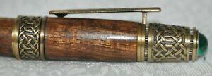 Custom Made Wood & Brass Green Cabachon Magnetic Iridium EF Nib Fountain Pen