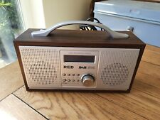 Red DAB FM Digital Radio Wood Effect Plugged in Only