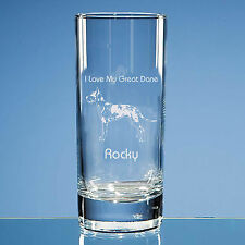 More details for harlequin great dane dog lover gift personalised engraved quality highball glass