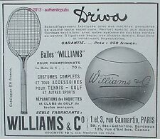 PUBLICITE BALLES WILLIAMS RAQUETTE DRIVA VETEMENT SPORT TENNIS GOLF DE 1929 AD