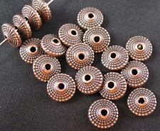 120 pcs Antiqued copper ornate flat round beads FC391