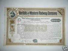 Norfolk & Western Railway $1,000 Gold Bond 1930s-Crisp, Big, Pretty - WOW !