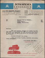 """LEVALLOIS-PERRET (92) pour AUTOMOBILE """"AUTO-OMNIA"""" en 1931 Elevateur AUTOMOBILE"""