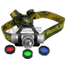 CREE LED Headlamp Rechargeable Headlight Light - Zoomable - with 3 light filter