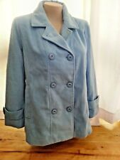 Dream BLUE LS Melton Coat jacket WARM lined button front size 18 NEW + pockets