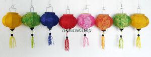 Set of 8 Vietnam Hoi an Silk Lanterns String 10cm - for Pine Christmas decor