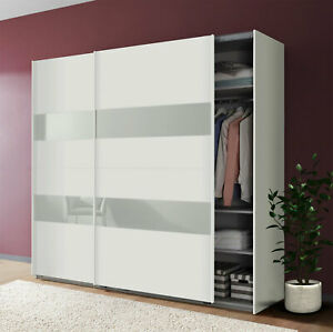 Schwebetürenschrank Altona Kleiderschrank 225cm weiß Weißglas 76374196