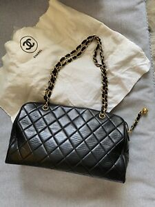 Vintage CHANEL Black Quilted Duffle Shoulder Bag w/ Gold Chain