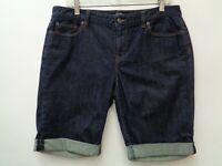 Ann Taylor Loft 10 Blue Womens Shorts Denim Jean Modern Cuffed Stretch Bermuda