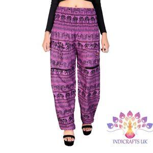 Harem Trousers Hippie Summer Yoga Cotton Rayon Elephant Print Alibaba Boho Pants