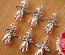10 Pink Angel Charm Pendant Faceted Abacus Glass Crystal Beads Communion Baptism