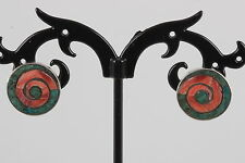 STERLING SILVER ROUND INLAID RED & GREEN STONE EARRINGS 950 7662