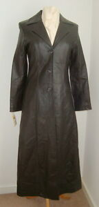 LADIES' FULL LENGTH BLACK LEATHER COAT SIZE 10 - #3038