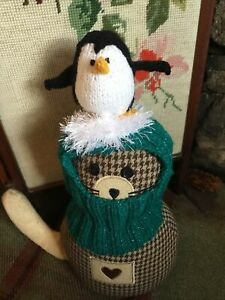 Hand Knitted  Christmas  Penguin Balaclava For Small Dogs ,New,Fit Small Pug Etc