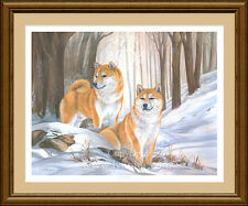 "SHIBA Inu BELLE ARTI LIMITED EDITION DOG PRINT ""Winter's Charm"" by LYNN PATERSON"