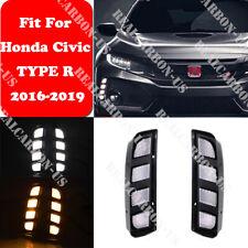 For Honda Civic 2016-2019 TYPE R Daytime Running Fog Light With Turn LED DRL