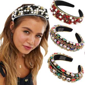 Women Baroque Bead Headband Crystal Rhinestone Hairband Crown Party Accessories