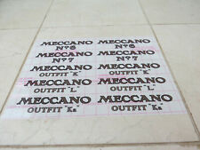 Meccano Outfit Lid Transfer/Decal Replacement Stickers/Labels 6,7,K,L,La Repros.