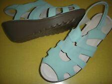 Skechers Stylin' Suede Leather Peep Toe Wedge Heel Sandals Women 9 W Mint Green
