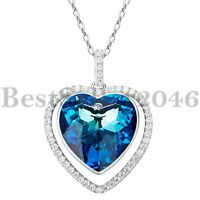 Sterling Silver Titanic Heart of The Ocean Made with Swarovski Crystal Necklace