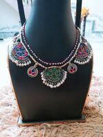 Gypsy Necklace, Jeweled, Kuchi Gypsy, Afghan Jewelry, Coins, Vintage Necklace, B