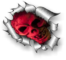 CLASSIC Ripped Open Torn Metal Rip & Evil Red Gothic Horror Skull car sticker