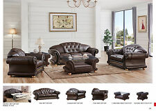 Versace Cleopatra Living Room Sofabed and Loveseat Set in Brown Italian Leather