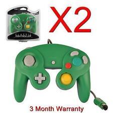 2X CONTROLLER FOR NINTENDO GAMECUBE GC & WII GREEN/BLUE NEW