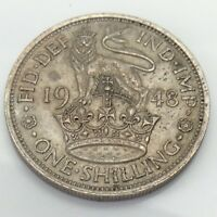 1948 Britain UK United Kingdom One 1 Shilling Circulated British Coin E829