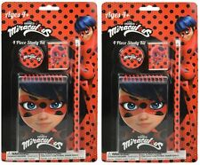 2x Miraculous Ladybug 4Pc Study Kit Kids School Pencil Set