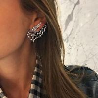 Women Crystal Rhinestone Wings Feather Ear Clip Stud Earrings Charm Jewelry
