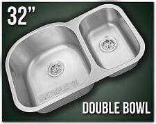 "Double Bowl 32"" Undermount Kitchen Sink 304 Stainless Steel Offset 70/30 8153"