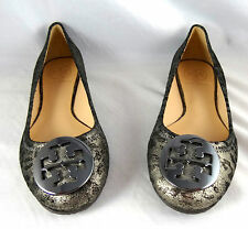 Tory Burch Reva Cheetah Anthracite Leather Ballet flat shoes 7.5, 9