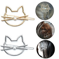 Hollow Cat Hair Pin Imitation Pearl Hairpin Hair Side Clip Hair Accessories