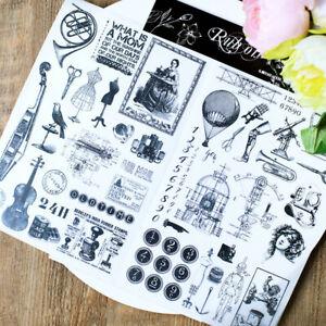2 Sheets Rub-ons Paper Retro DIY Scrapbooking Planner Journaling Card Making