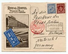 1934 Advertising envelope - Royal Hotel Woburn Place Russell Sq London Air Mail.