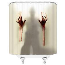 HD_ Halloween Shower Curtain Liner Window Curtains Horror Bloody Hands House Str