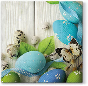 Quality 3-ply Easter Blue Eggs Napkins Paper Decorative Serviettes 33 x 33cm