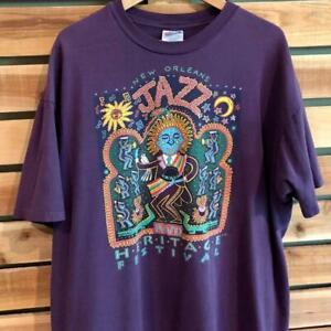 Rare VTG 90s Hanes New Orleans Jazz Heritage Festival 1993 Art Promo T Shirt 2XL