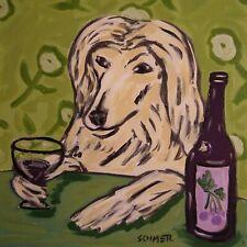 afghan hound wine dog art tile coaster gift impressionism 6x6