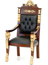 FIRST CLASS CONTINENTAL LION CHAIR, EMPIRE SESSEL mit LÖWEN LUXUS MAHAGONI STUHL