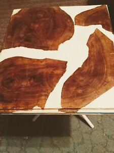 Live Edge Black Walnut And Cream Table