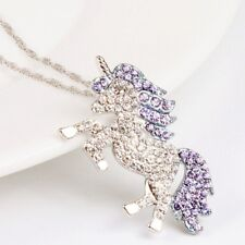 925 Silver Crystal Unicorn Necklace Pendant Wedding Gifts For Women Girl Jewelry