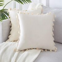 Pack of 2 Velvet Soft Solid Christmas Decorative Throw Pillow Cover with Ta U6B4
