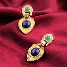 ETHNIC CHANDELIER EARRINGS gold pltd TEARS drop BLUE/GREEN/CARNELIAN vintage sty